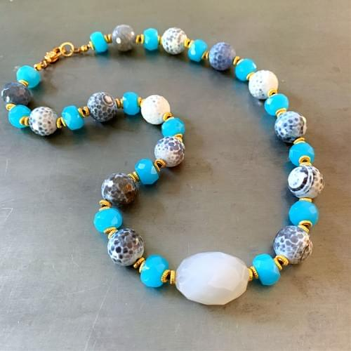 """Chalcedony, Quartz and Agate """"Blues"""" Necklace"""