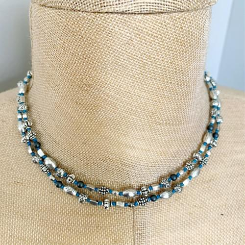 Silver Beads on Turquoise Thread Strand and Wrap-Strand Bracelet