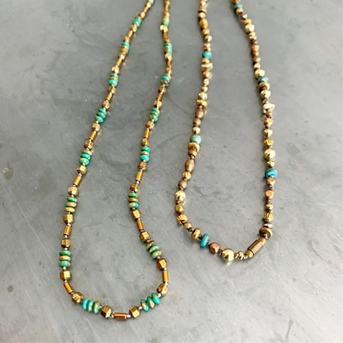 Turquoise with Antique Gold Accents Strand Necklaces or Wrap-Strand Bracelets