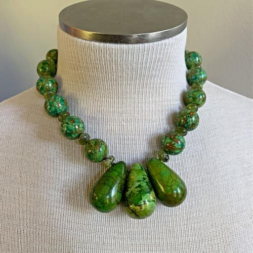 Three Green Turquoise Drops with Green Mosaic Turquoise Necklace