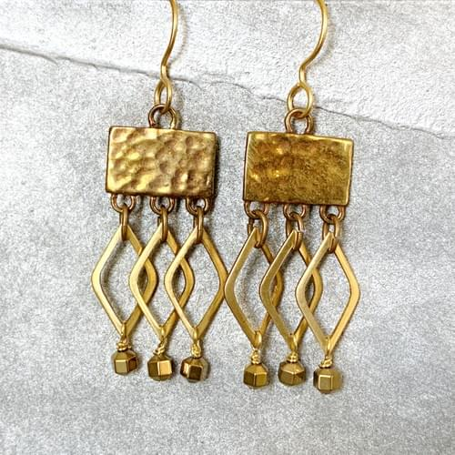 Textured Brass and Marquis Dangles