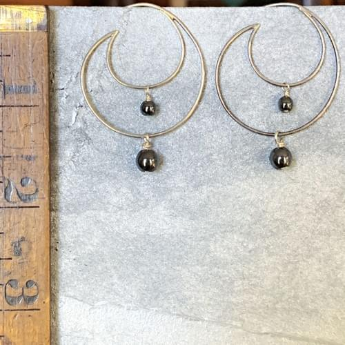 Wire Crescent Hoops with Dangles
