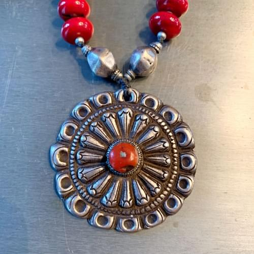 Red Coral and Silver Tibetan Pendant