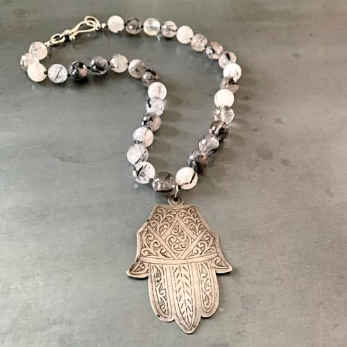 Antique Moroccan Hamsa on Hand-Knotted Rutilated Quartz