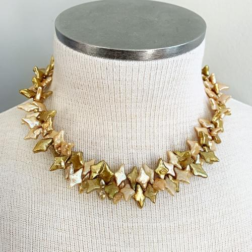 Two Toned Blush Marquis Pearl Necklace