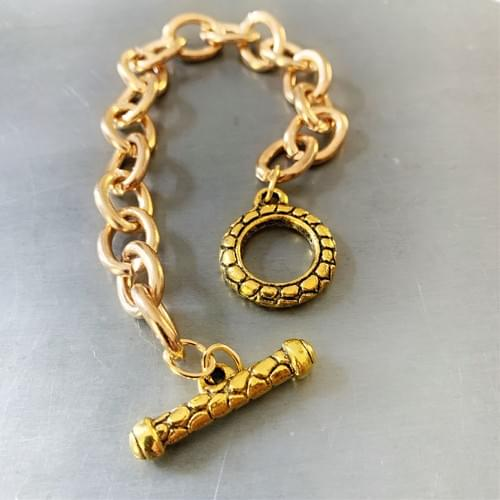 Single Gold-plated Cable Chain Bracelet