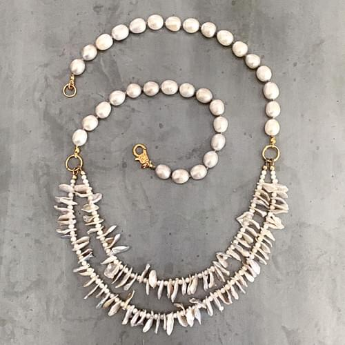 Double Strand Keshi Pearl Necklace