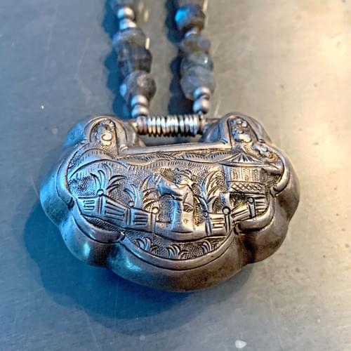 "Ching Dynasty ""Lock"" Pendant with Labradorite"
