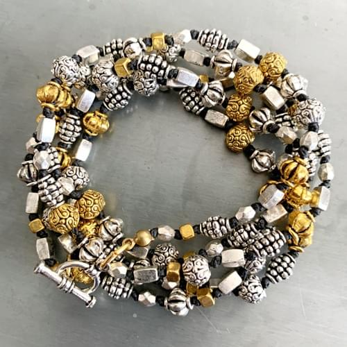 Two Toned Textured Bead Strand Necklace and Wrap Bracelet