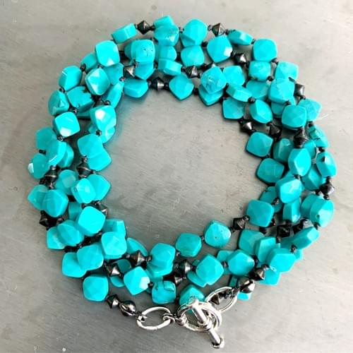 Turquoise Squares Strand Necklace and Wrap Bracelet