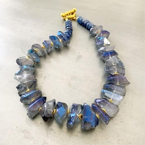 Natural Tumbled Nuggets of Aurora Borealis Blue Quartz Necklace