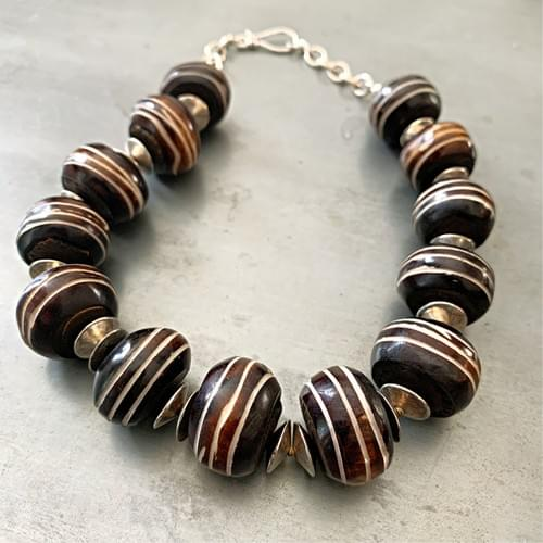 African Batik Bone Bead Necklace