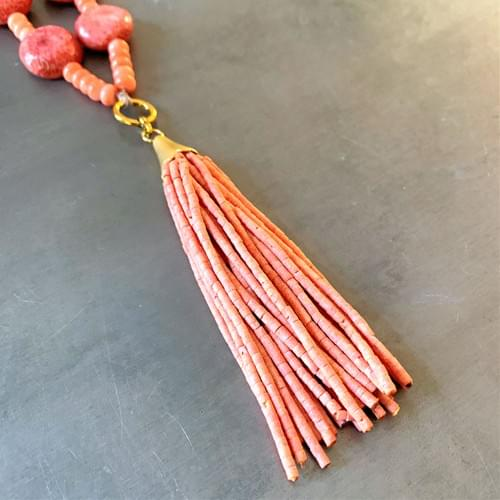 Peach Coral Tassel Necklace