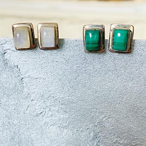 Sterling Silver Gemstone Post Earrings