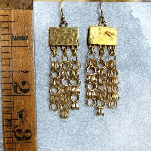 Loopy Chain Tassel Chandelier Earrings