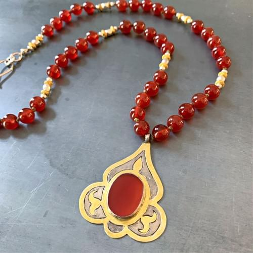 Silver and Gold Turkmen Pendant with Carnelian Necklace