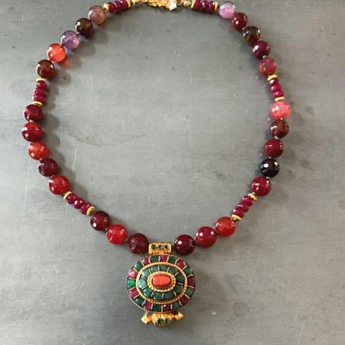 Tibetan Ga'u with Rubies, Emeralds and 24k Gold Vermeil