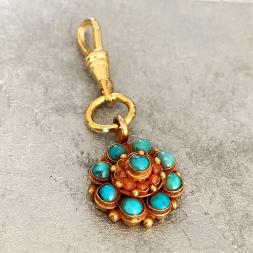 Tibetan Gold Vermeil, Turquoise and Coral