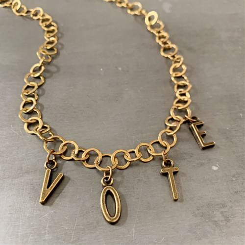 Brass Loopy Chain VOTE Necklace