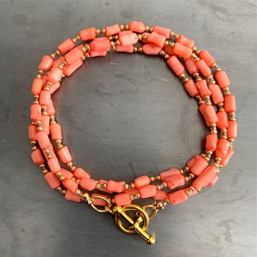 Peach Coral and Fire Jasper Wrap Necklaces and Wrap Bracelets