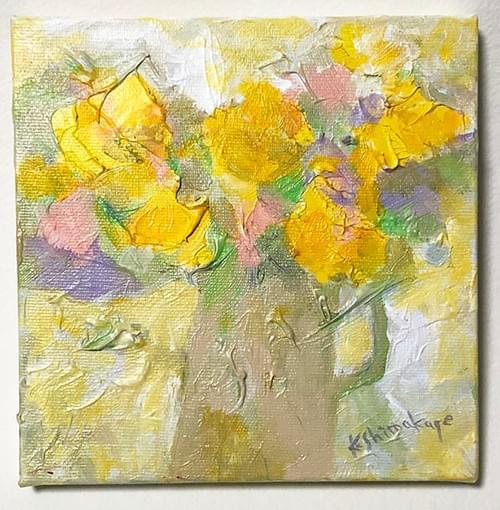 アクリル絵画「 黄色い花」