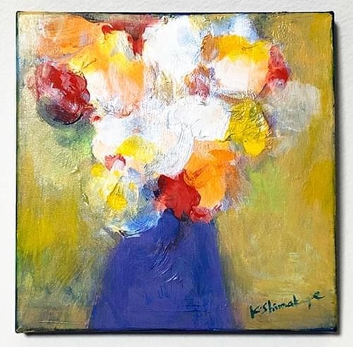 アクリル絵画「 青い花瓶の花」