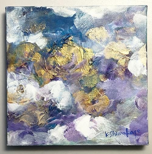 アクリル絵画「 金の花」