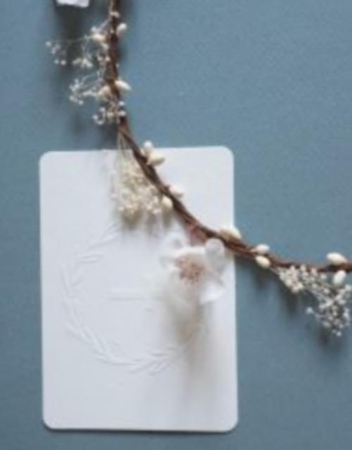 Mini carte Croix gaufrage blanc