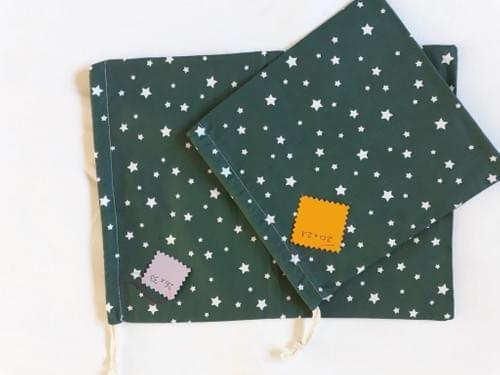 Lot de 2 petits sacs en coton fantaisie
