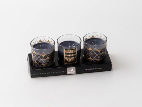 Lot de 3 bougies parfumées pots en verre