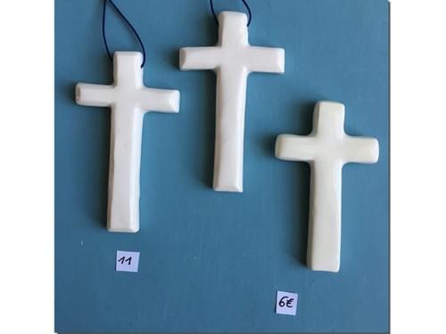 Mini-Croix Céramique blanche (murale ou pendentif)