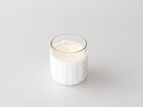 Bougie déco verre et laine