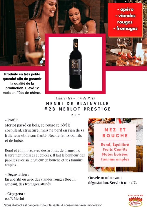 Henri DE BLAINVILLE : Merlot PRESTIGE 2017 (IGP - Charentes)