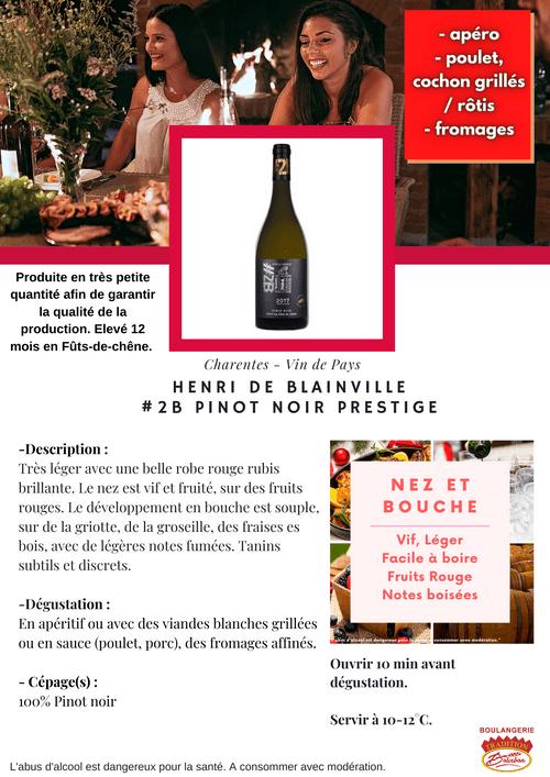 Henri DE BLAINVILLE #2B Pinot Noir PRESTIGE 2017 (IGP - Charentes)