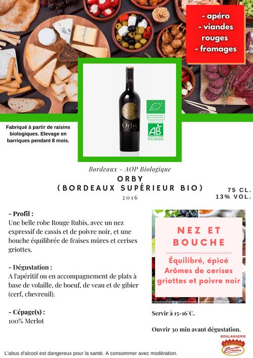 ORBY Bordeaux Supérieur BIO 2016 (AOP - Bordeaux Supérieur Biologique)