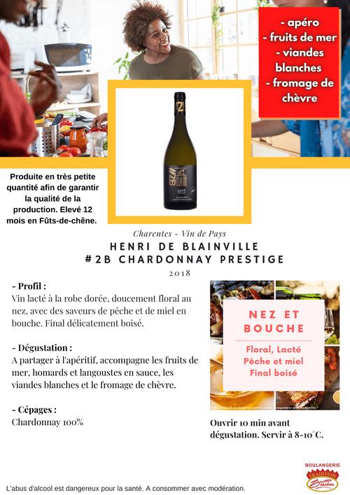 Henri DE BLAINVILLE #2B Chardonnay PRESTIGE 2018 (IGP - Charentes)