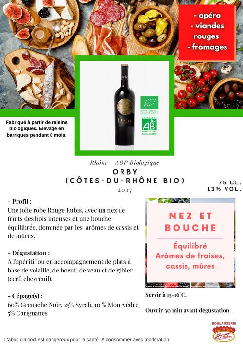 ORBY Côtes-du-Rhône BIO 2017 (AOP - Côtes du Rhône Biologique)