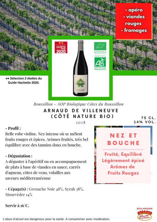 Arnaud de Villeneuve : Côté Nature BIO 2018 (Côtes-du-Roussillon-Rouge)