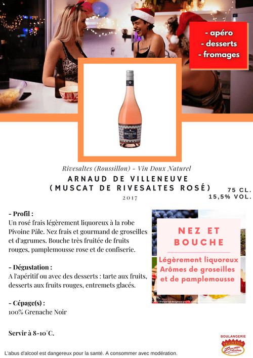 Arnaud de Villeneuve : MUSCAT DE RIVESALTES ROSÉ 2017 (Vin Doux Naturel - Roussillon)