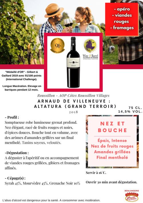 Arnaud de Villeneuve : ALTATURA GRAND TERROIR 2016 (Côtes du Roussillon Villages)
