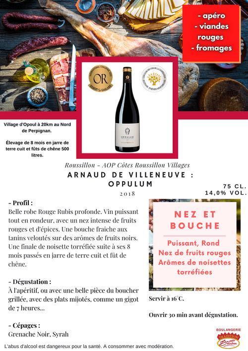 Arnaud de Villeneuve : OPPULUM 2018 (Côtes du Roussillon Villages)