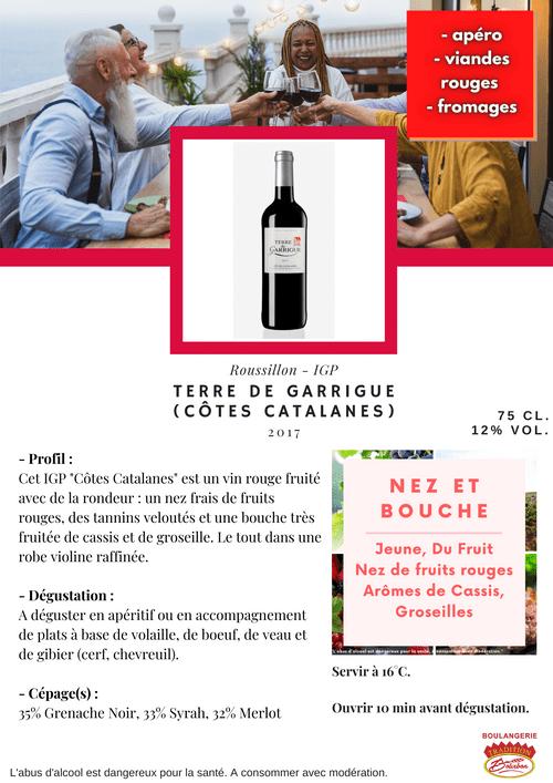TERRE DE GARRIGUE : ROUGE 2017 (IGP Côtes Catalanes)
