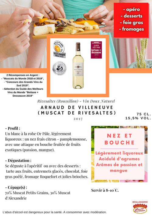 Arnaud de Villeneuve : MUSCAT DE RIVESALTES TRADITION BLANC 2017 (VDN - Roussillon)