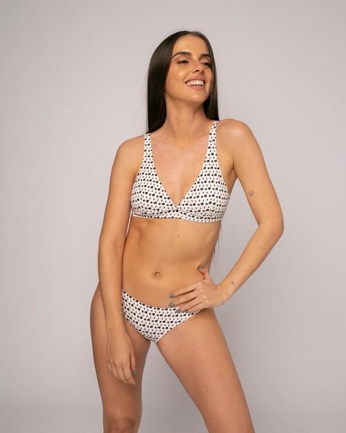 Bikini Ónice Piqué Estampado Blanco y Negro