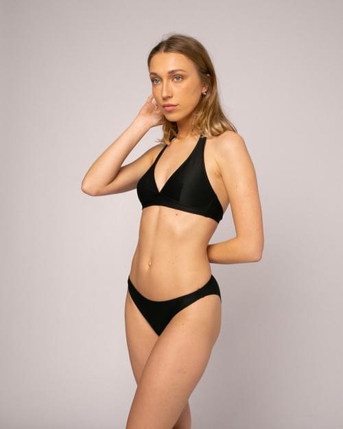 Bikini Halter Nido Abeja Negro