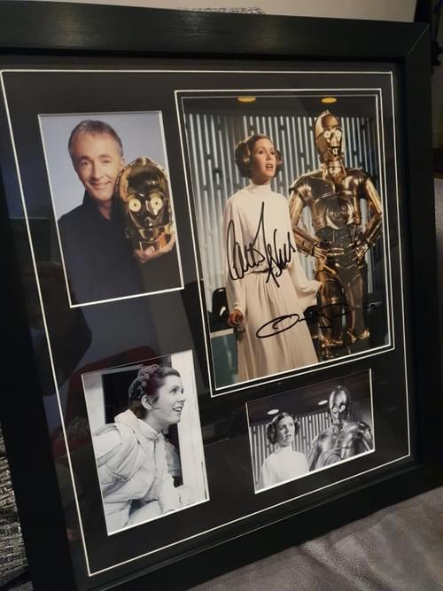 Star Wars Carrie Fisher and Anthony Daniels SIGNED PHOTO + 3 PHOTOS