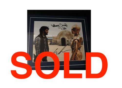 Star Wars Framed Colour Photo SIGNED BY GEORGE LUCAS AND ANTHONY DANIELS (C-3PO)