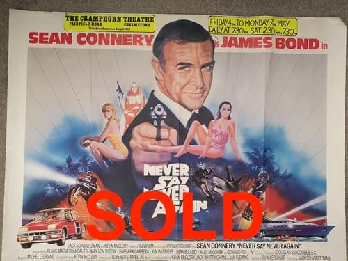 Never Say Never Again ORIGINAL QUAD MOVIE POSTER 30 x 40""