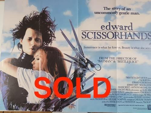 "Edward Scissorhands ORIGINAL UK QUAD POSTER 40 x 30"""