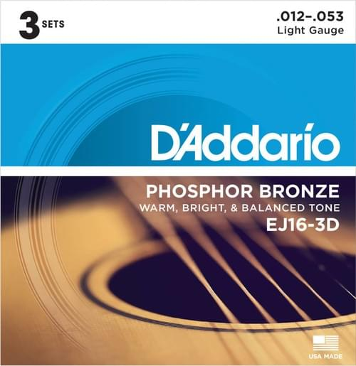 3- Pack EJ16 Phosphor Bronze Acoustic Guitar Strings, Light, 12-53